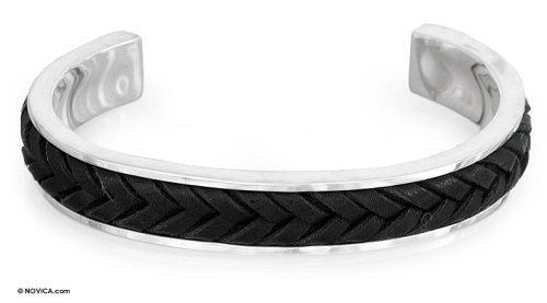 Men's Jewelry, Sterling Silver and Leather Cuff Bracelet, 'Rancho'
