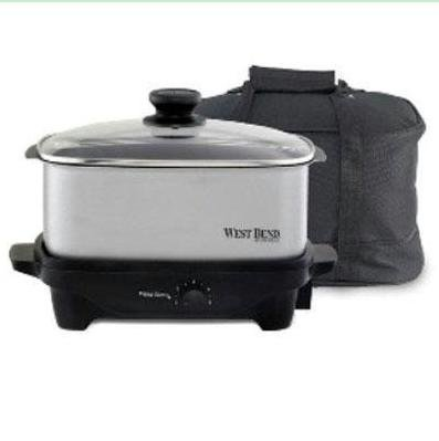 Digital Slow Cookers: Focus Electrics West Bend 84915 Oblong Slow Cooker 210 W - 1.25 Gal-chrome