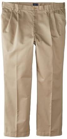 IZOD Men's Big-Tall Pleated Extended Twill Pant, Khaki, 44x30