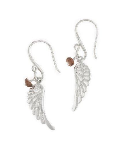 Dower & Hall, Angel - Solid Sterling Silver Angel Wing Drop Earrings with Garnet Bead
