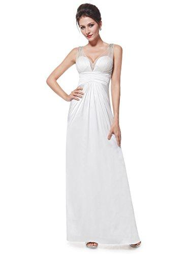 Ever Pretty Womens Stunning Illusion Neckline Wedding Dress 4 US White