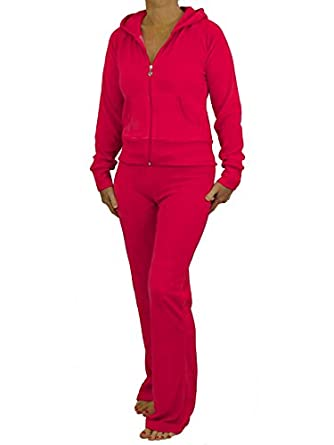 Love Lola Womens Velour Tracksuits Ladies Full Luxury Lounge Suits Hoodys Joggers Heart Designer Inspired (S, Raspberry)