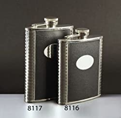 Franmara Deluxe Leather-Bound Captive-Top Pocket Flask, 8 oz.
