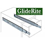"""GlideRite Hardware 1070-Z - 10-inch 100 Lb. Full Extension Ball Bearing Drawer Slides with 1"""" Over-travel"""