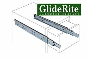 """GlideRite Hardware 1270-Z - 12-inch 100 Lb. Full Extension Ball Bearing Drawer Slides with 1"""" Over-travel"""
