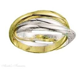 Three Band Gold Vermeil Rolling Ring Or Russian Ring Size 6