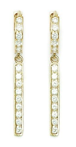 14ct Yellow Gold CZ Chain Hinged Dangle Earrings - Measures 36x13mm