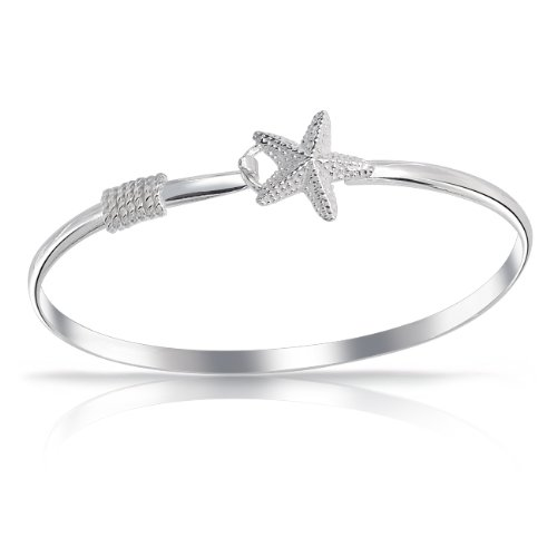 Bling Jewelry 925 Sterling Silver Nautical Starfish Bangle Bracelet 7.5 Inch