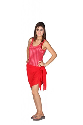Red Indraprastha Women's Swim Sarong (408431 _Red _Free Size)