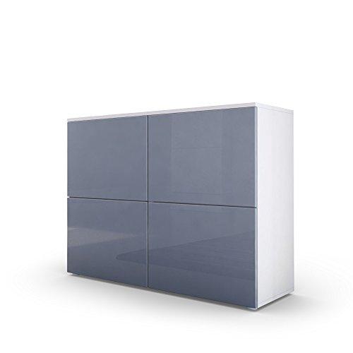 Kommode-Sideboard-Rova-in-Wei-matt-Grau-Hochglanz-Grau-Hochglanz