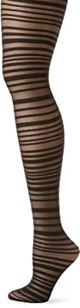 Betsey Johnson Women's Sassy Stripe Sheer Tight, Black, Medium/Large