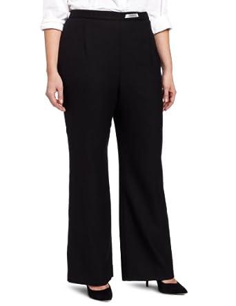Pendleton Women's Plus-Size Wool Soft Pant, Black Worsted Crepe, 14W