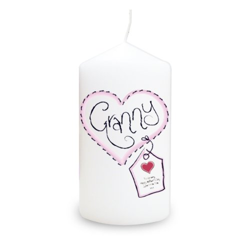 Granny Heart Stitch Candle. This is a great product that can be personalised to your requirements ( please see main discription for full details ) Ideal gifts and presents for weddings, Christenings, Birthdays, Christmas etc...