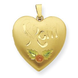 Genuine IceCarats Designer Jewelry Gift Gold Plated Sterling Silver 24Mm Satin, Enameled, D/C Mom Locket