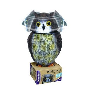 OWL DECOY /BIRD REPELLER WITH ROTATING HEAD