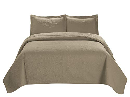 3 Piece MIKANOS Ultrasonic Embossed Bedspread Set-Oversized Coverlet 100x106in, 118x106in (King, Taupe) King