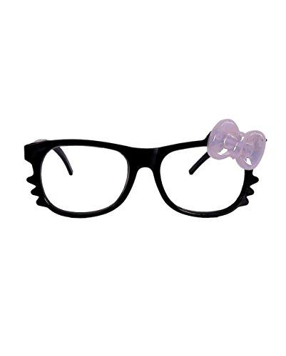 [iHeartRaves LED Light Up Bow Kitty Glasses (Black)] (Hello Kitty Ears)