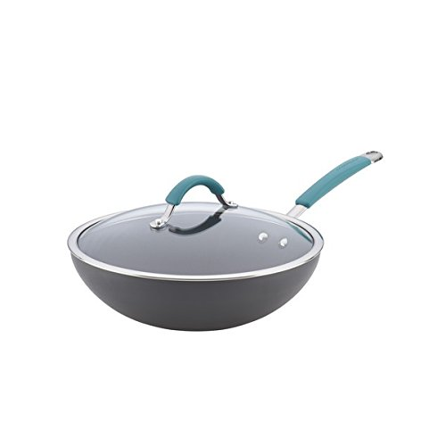Rachael Ray Cucina Hard-anodized Nonstick 11-inch Grey with Agave Blue Handle Covered Stir Fry