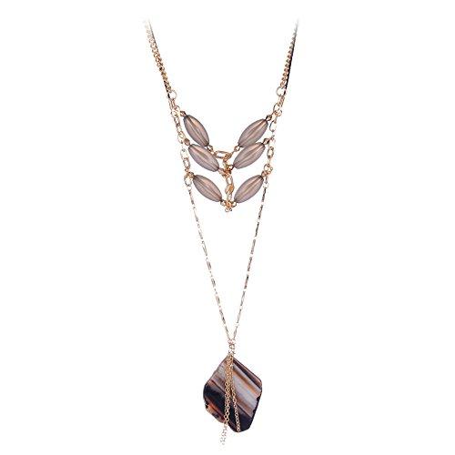 Girl Era Womens Naturn Stone Black Necklace Unique Pendant Necklaces(gold)