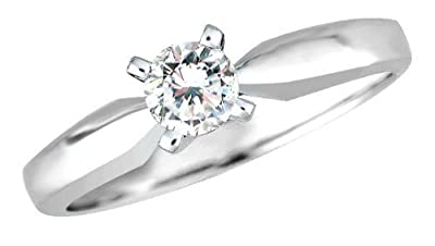 0.15ct. H/SI Round Brilliant Diamond Solitaire Engagement Ring in 18ct White Gold