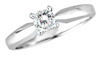 0.15ct. H/SI Round Brilliant Diamond Solitaire Engagement Ring in 18ct White Gold With Certificate