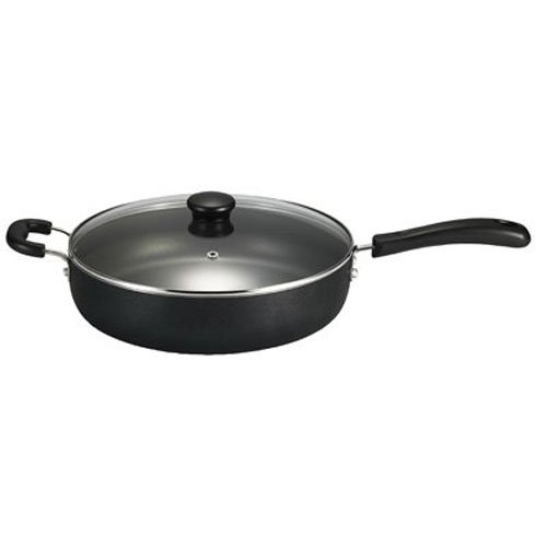 T-fal A91082 Specialty Nonstick Dishwasher Safe Oven Safe Jumbo Cooker Saute Pan with Glass Lid Cookware, 5-Quart, Black (Ceramic Large Skillet With Lid compare prices)