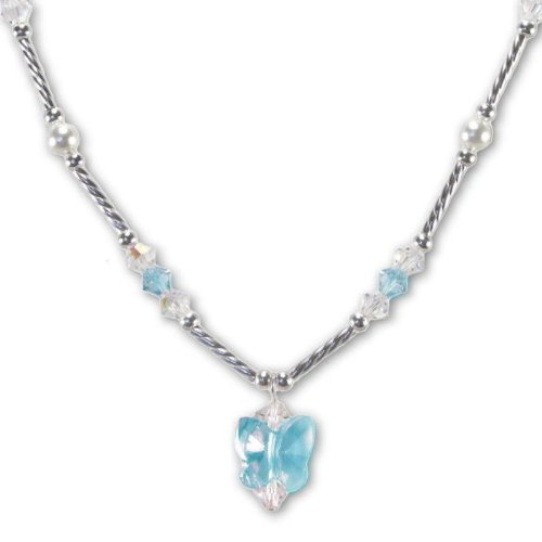 Blue Butterfly Necklace Made with SWAROVSKI ELEMENTS Crystals and Pearls Sterling Silver