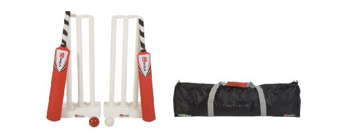 Crazy Cricket Set - Great Outdoor Family Kwik Cricket Set. A full set of plastic cricket equipment. Includes; two cricket bats, one size 3, one size 5, two sets of stumps and bails, two windball cricket balls, and a storage/transport bag.