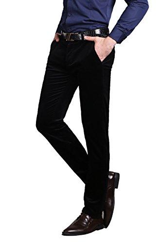 Juway Mens Corduroy Slim-Tapered Flat-Front Pants(Black,32 ...