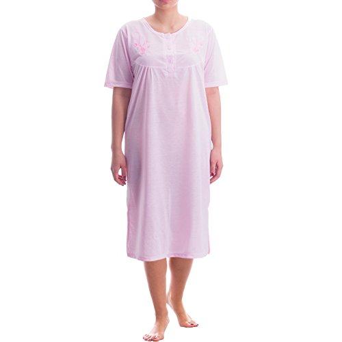 lucky-chemise-de-nuit-a-manches-courtes-pour-femme-uni-feminin-fine-nuit-ete-col-rond-rose-xx-large