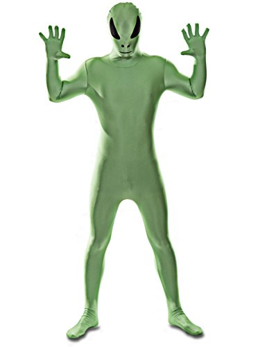 Deluxe Edition: Green Alien Spandex Catsuit Costume (Men: Large)