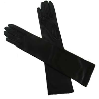 Buy BLACK LONG SATIN 1/2 ARM ELBOW LENGTH EVENING GLOVES