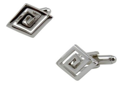 Sterling Silver Cuff Links Elegant Smooth Polished Angle Cut Design