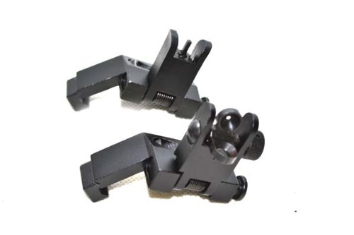 Outdoorguru Tactical Ar15 Ar 15 Front And Rear Flip Up 45 Degree Rapid Transition Buis Backup Iron Sight Mount
