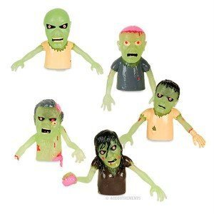 Set Of 5 Glow In The Dark Zombie Finger Puppets Halloween Zombies from Accoutrements