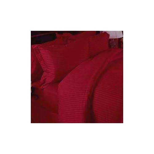 MARRIKAS 300TC Egyptian Cotton KING RED STRIPE SHEET SET
