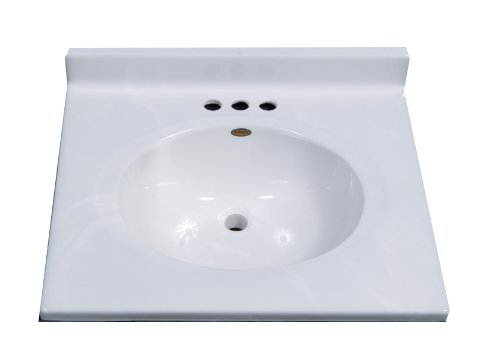 Imperial FC2522W Classic Center Oval Bowl Vanity Top, White Gloss Finish, 25-Inch Wide by 22-Inch Deep