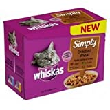 Whiskas Pouch Simply Braised Meat 12 x 85 g (Pack of 4, Total 48 Pouches)