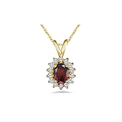 0.28 Cts Diamond & 1.07 Cts Garnet Pendant in 14K Yellow Gold