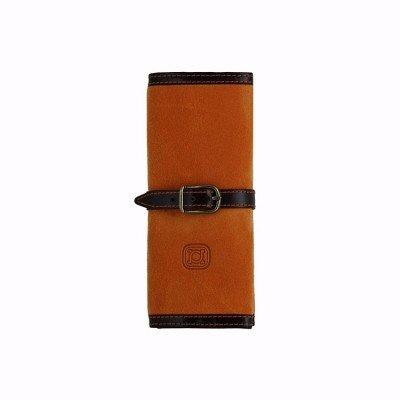 Travel jewelry box made of suece and leather orange