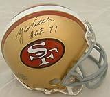 YA TITTLE AUTOGRAPHED/SIGNED SAN FRANCISCO 49ers MINI HELMET W/HOF INSC – Autographed NFL Mini Helmets