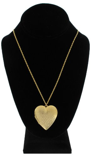 Gold Plated Metal Pendant Photo Locket Necklace Large Heart 20