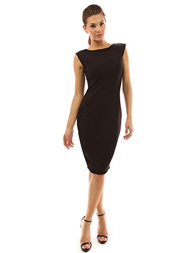 PattyBoutik Women's Boat Neck Sleeveless Sheath Dress (Black M)