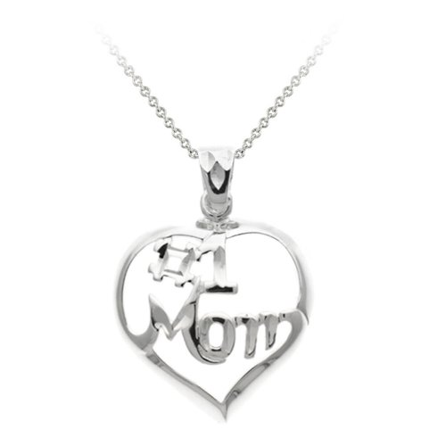 Sterling Silver #1 Mom in a Heart Pendant Necklace, 18