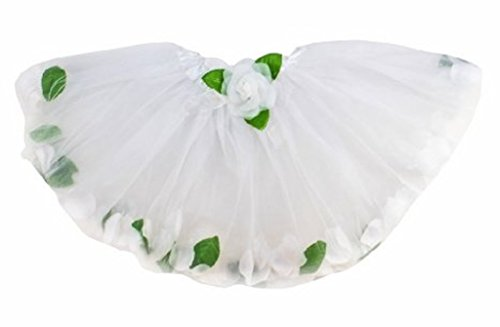 White Floating Flower Petal Tutu in Tulle for Girls by Lil Princes - 1