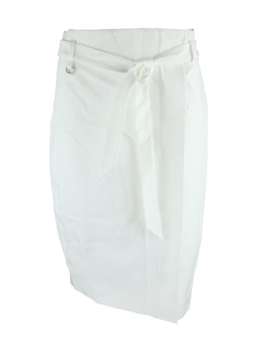 Max Mara Womens White Bonbon Wrap Front Belted Pencil Skirt 42 Image