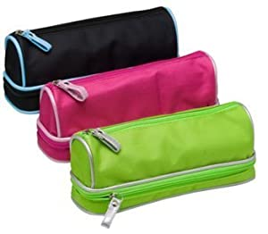 Tiger Barrel Shaped Double Zip Pencil Case Assorted Color - Single supplied