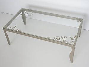 Table basse rectangulaire - En verre transparent avec pieds et sérigraphie couleur champagne doré