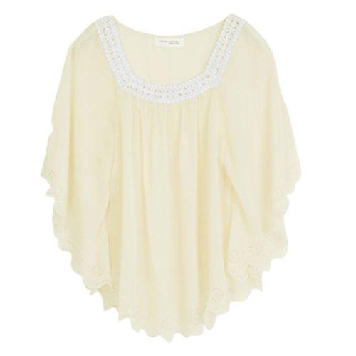 Ladies Square Neckline Pullover Chiffon Blouse Light Yellow S