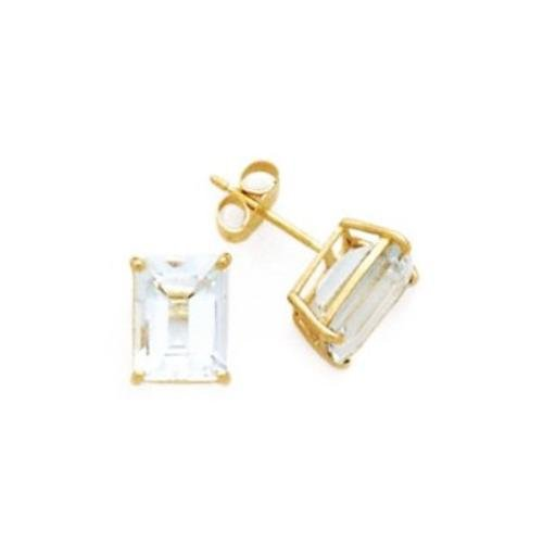 Xena's 925 Sterling Bridal Earrings 8.0CT Vermeil Plated Emerald Cut Cubic Zirconia - Incl. ClassicDiamondHouse Free Gift Box & Cleaning Cloth